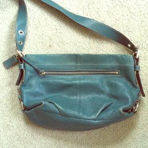 Coach boho textured teal leather cross-body bag